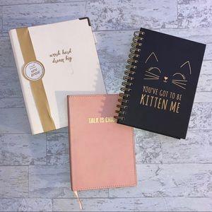 Set of (3) Office Supplies; Mini Binder & Notebook